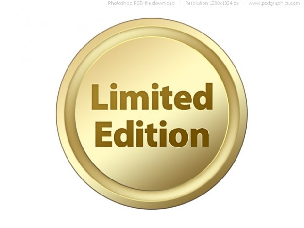 Psd preto e selos de ouro de edição limitada e botões