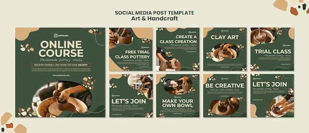 Publicação de artes e artesanato nas redes sociais
