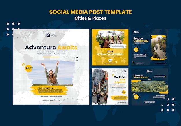 Publicação de cidades e lugares nas redes sociais