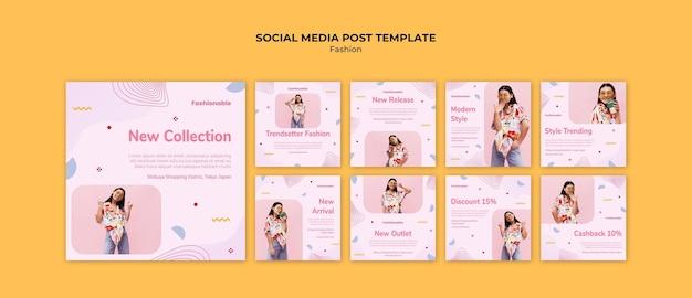 Publicação de coleção de moda nas redes sociais