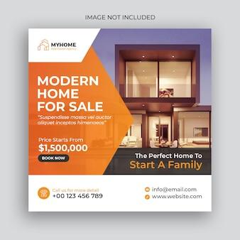 Publicação de imóveis para venda em mídia social e modelo de banner da web