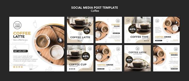 Publicação de mídia social de café