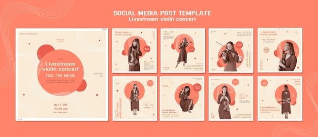 Publicação de mídia social de concerto de violino ao vivo