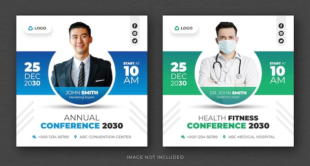 Publicação de mídia social de conferência de negócios corporativos e modelo de design de banner ou folheto quadrado