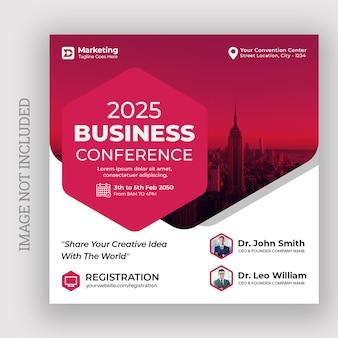 Publicação de mídia social de conferência de negócios modelo de design de folheto quadrado de banner