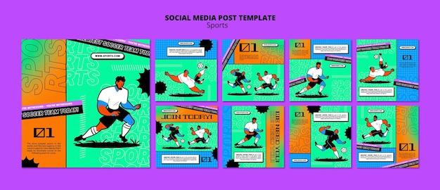 Publicação de mídia social de modelo de futebol com ilustração vibrante
