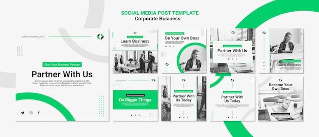 Publicação de mídia social de negócios corporativos
