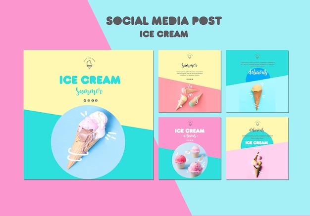 Publicação de mídia social de sorvete