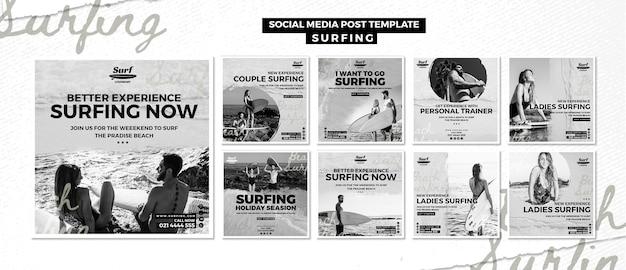 Publicação de mídia social de surf
