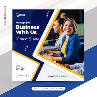 Publicação de mídia social do instagram de negócios