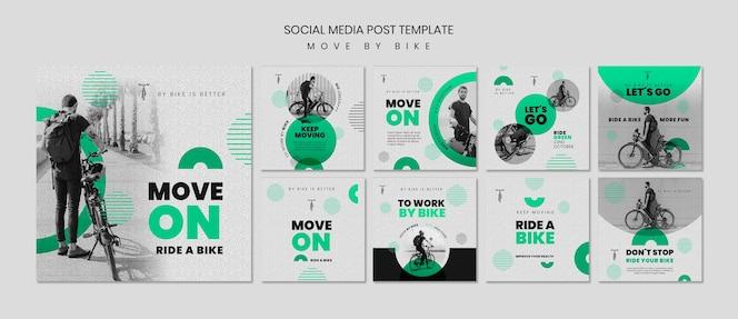Publicação de mídia social mover de bicicleta