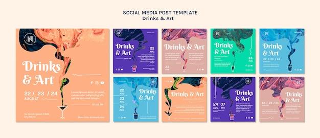 Publicação de mídia social sobre bebidas e arte Psd grátis