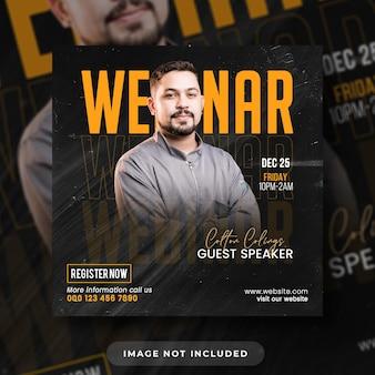 Publicação de panfleto de webinar em mídia social e modelo de banner na web