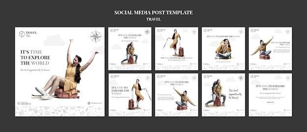 Publicação de viagens nas redes sociais do mundo