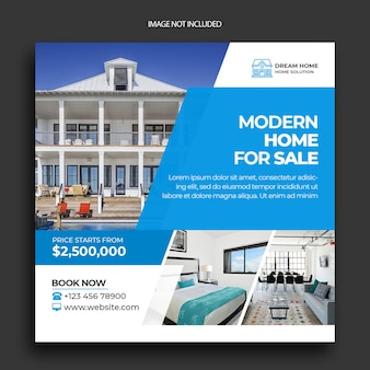 Publicação do instagram imobiliário e modelo de folheto de mídia social