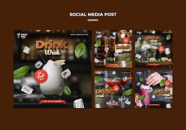 Publicação na mídia social da drink week