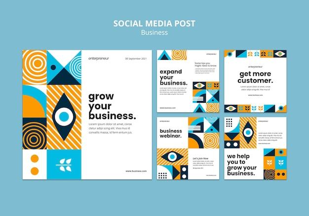 Publicação na mídia social sobre crescimento dos negócios