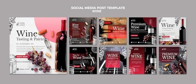 Publicação nas redes sociais de degustação de vinhos