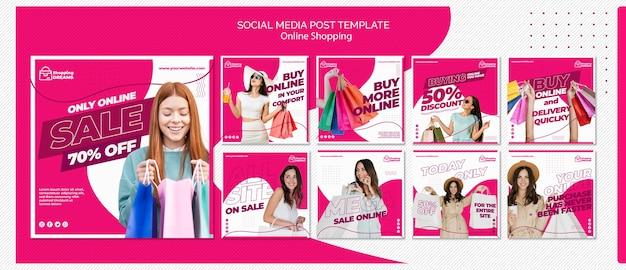 Publicação online de mídia social do shopping