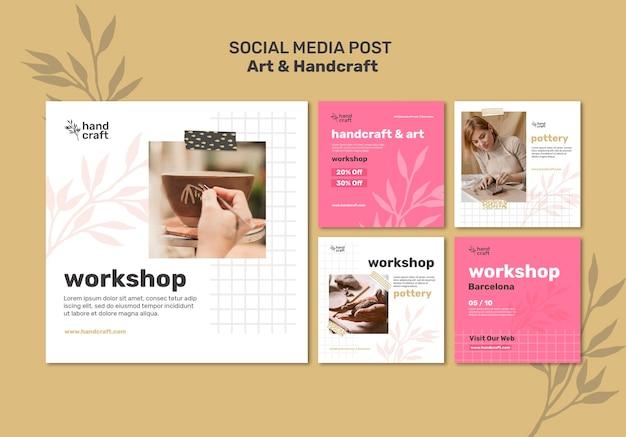 Publicações de arte e artesanato nas redes sociais