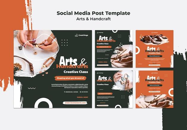 Publicações de artes e artesanato nas redes sociais