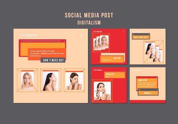 Publicações de mídia social digital com foto