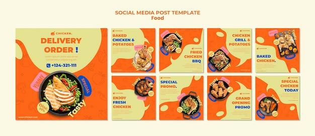 Publicações de mídia social para pedidos de entrega