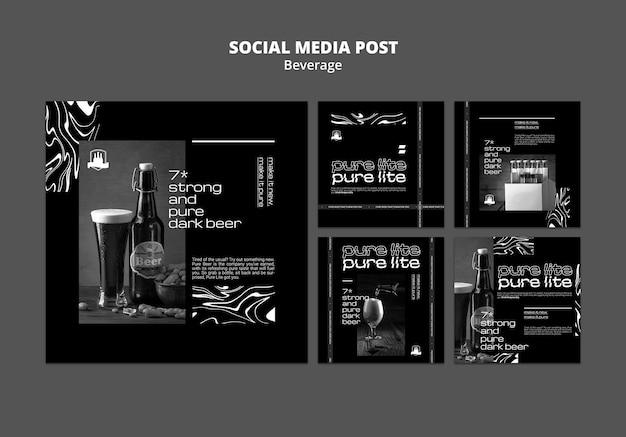 Publicações de redes sociais de bebidas deliciosas