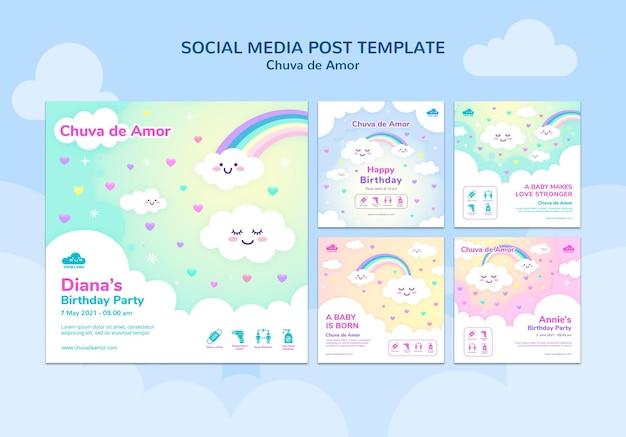 Publicações de redes sociais de chuva de amor