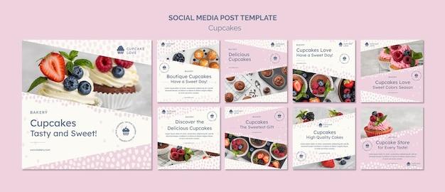 Publicações de redes sociais de cupcakes deliciosos