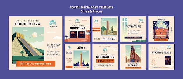 Publicações em redes sociais de cidades e lugares