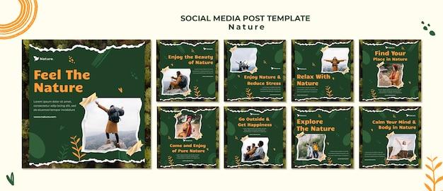 Publicações nas redes sociais da nature