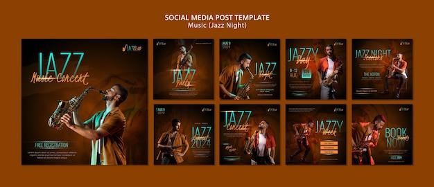 Publicações nas redes sociais de concertos de jazz