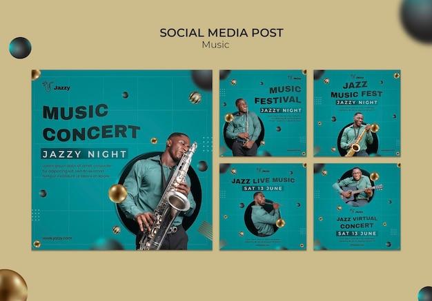 Publicações nas redes sociais de festivais de música jazz