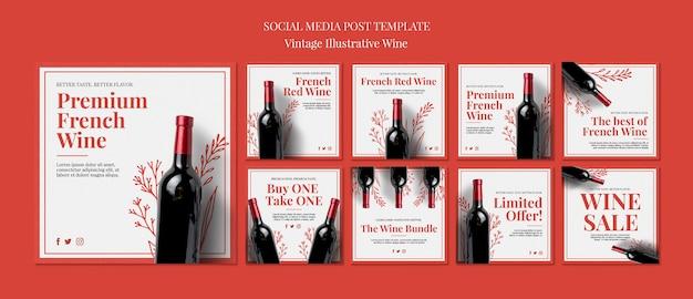 Publicações nas redes sociais do vinho francês