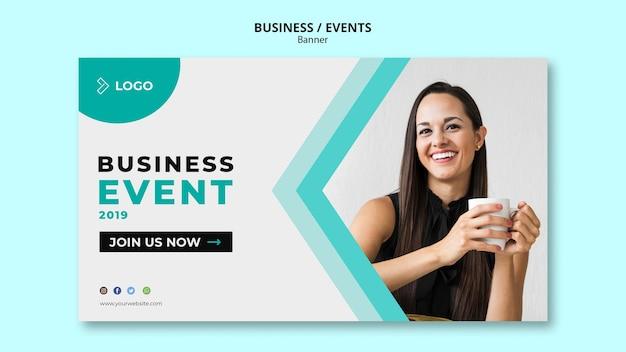 Publicidade de evento de negócios com modelo de banner