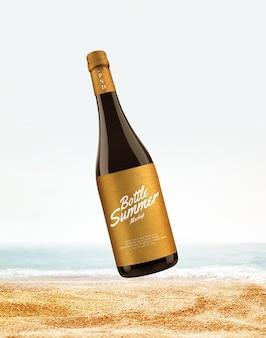 Publicidade de garrafa de vinho na maquete de praia