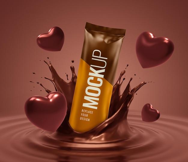 Publicidade de maquete de chocolate com coração sachê