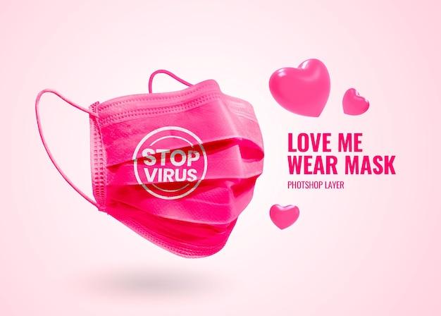 Publicidade de maquete de máscara de segurança para namorados primeiro