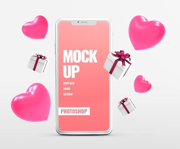 Publicidade de maquete de presente de dia dos namorados para telefone