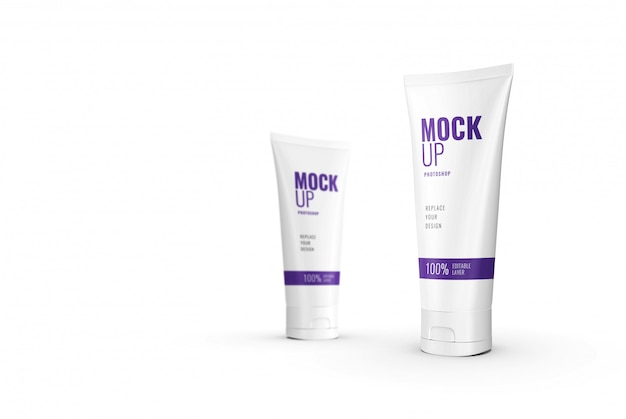 Publicidade de maquete de tubo de compressão cosmética realista