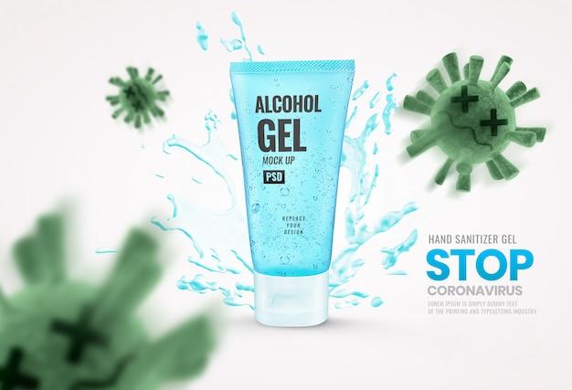 Publicidade de maquete de tubo de gel
