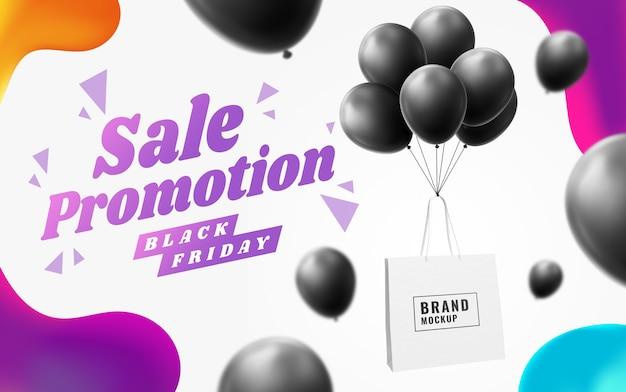 Publicidade em banner de sacola de compras em balão