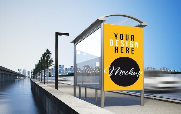 Publicidade em outdoor na maquete de renderização em 3d do ponto de ônibus