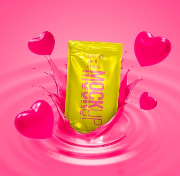 Publicidade para o dia dos namorados com maquete de bolsa rosa