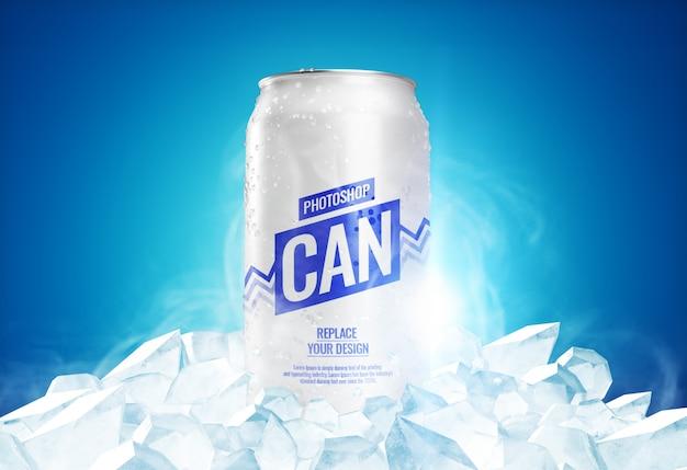 Publicidade pode maquete congelada realista