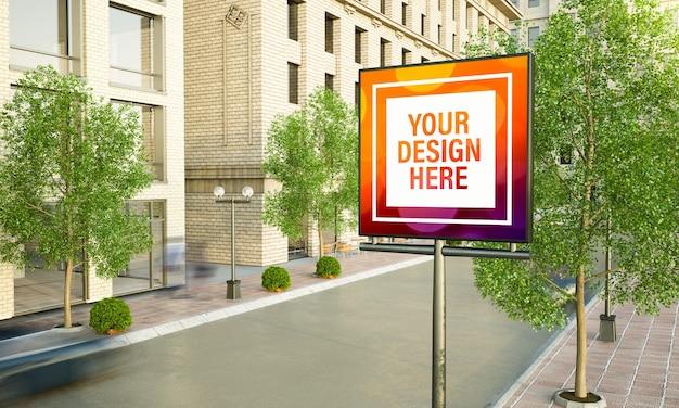 Publicidade quadrada em maquete de renderização em 3d de poste de luz