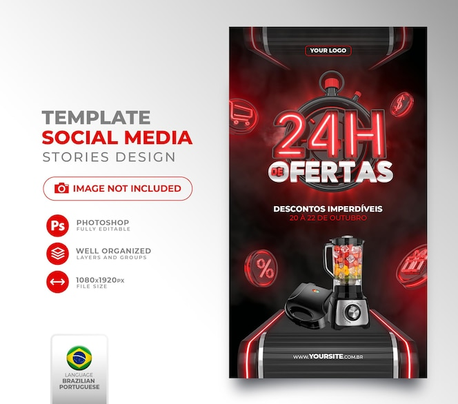 Publique 24 horas de ofertas em mídias sociais no brasil renderização de template 3d em português para marketing