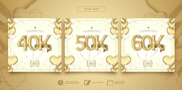Publique 40k 50k 60k seguidores em mídias sociais com balões de números renderização em 3d