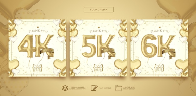 Publique 4k 5k 6k seguidores nas redes sociais com balões de números renderização em 3d